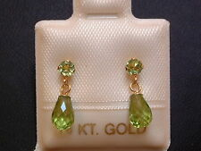 Exclusive Peridot Ohrstecker Ohrringe  14 Kt. Gold 585 - Brillant & Briolett Cut