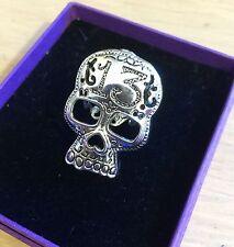 Sugar Skull Lucky 13 Ring Adjustable Silver Plated Vintage Rockabilly Steampunk