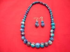 Artisan Crafted Blue Painted Wooden Bead Necklace, Bracelet & Earring Set