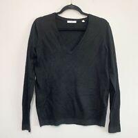 Equipment Wool Blend V-Neck Black Sweater Size S