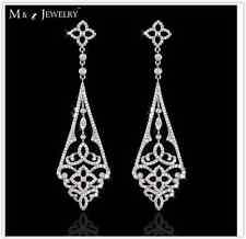 Royal Bridal Wedding Platinum Plated Diamante Crystal CZ Dabgle Drop Earrings