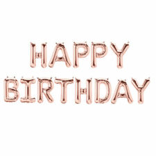Happy Birthday Banner Bunting  Balloons Hanging Garland Party Decor Rose Gold