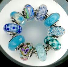 10 Pandora 925 ale silver beads charm glass murano blue family