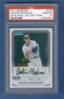 AUSTIN MEADOWS 2011 Bowman Chrome Draft USA PSA 10 Rookie