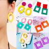 Women Fashion Hollow Geometric Dangle Drop Hook Acrylic Resin Ear Stud Earrings