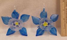 Set 2 Hand Blown Glass Ornaments Suncatcher Blue Flowers Ornate with Hook