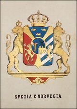 SVEZIA NORVEGIA: Stemma Araldico-Pagnoni 1863.Orig.Lithogr.Colori.Passepartout.