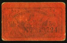 Mexico 5 Centavos Ejercito Constitucionalista, M3665 / MI-SAN-4. Fine+.