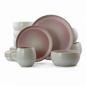 Elama Mocha Muave 16 Piece Luxurious Stoneware Dinnerware with Complete Setting