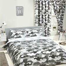 GREY ARMY CAMOUFLAGE DOUBLE DUVET COVER SET CHILDRENS BEDROOM - 2 IN 1 CAMO