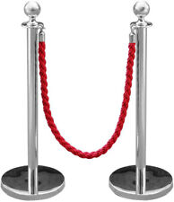 More details for pack of 2 stainless steel queue rope barrier stand / crowd control with rope