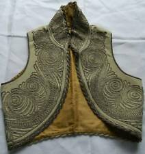 Antique pale cream wool Turkish Ottoman waistcoat yelek gold metallic embroidery