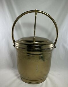 VINTAGE UNITED BRASS ICE BUCKET WITH GLASS LINER