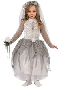 Childrens Halloween Skeleton Ghost Bride Kids Scary Fancy Dress Costume White