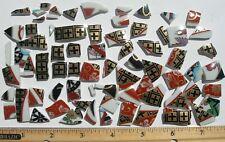 Black, Red & Metallic Gold Lines Shapes, Broken China Mosaic Tiles - 70 Tiles