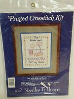 Needles 'N Hoops Printed Cross Stitch Kit SITTING ROOM Personalized Bathroom NEW