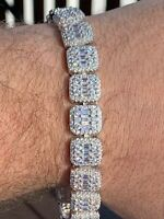 "Men's 10.00 Ct Baguette Cut Diamond Tennis Bracelets 14K White Gold Over 8"" Inch"