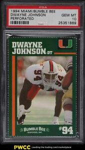 1994 Miami Bumble Bee Perforated Dwayne 'The Rock' Johnson ROOKIE RC PSA 10 GEM