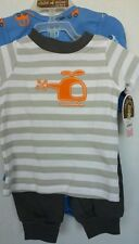 Carters Baby Boy  3 Pc Set Helicopter/Cars T Shirt/Pants One Pc  Sz 0-3 month