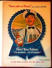 Vintage 1947 Eddie Cantor Pabst Blue Ribbon Beer Baseball Ad Advertisement Orig