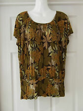 Women's Size Medium H&M Floral Summer Top in Green/Brown/Yellow