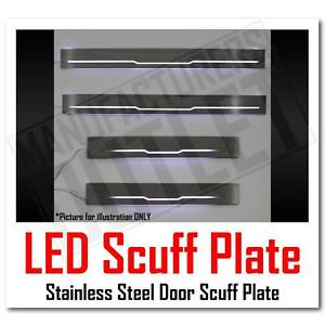 99-15 Ford F-250/F-350 SD Crew Cab LED Stainless Door Sill Scuff Plate Guard 4pc
