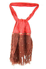 ONE-OF-A-KIND RED-BROWN TAFFETA SCARF BROWN WOOLLY SEQUINNED FINISH (MS20)