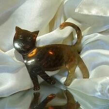 HUGE X Cute OOAK Handmade Vintage 1980's Brass Folk Art Kitten Cat Brooch 284Ap8