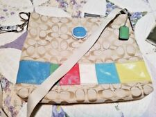 Coach Beige Signature Multi-Color Stripe Crossbody/Shoulder Handbag F17441