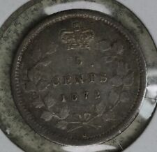 Nice Original Better Date 1872 H Canada 5 Cents!
