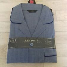 M&S mens pyjamas XXL 100% cotton blue bnwt