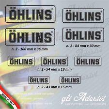 Set 9 Adesivi OHLINS moto auto Trasparente e Nero light