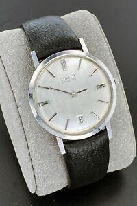 Vintage Tissot Visodate Manual Wind Date Swiss Watch 34mm Silver Dial