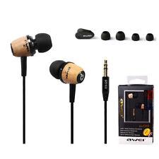 AWEI Q9 Excellent Super Bass Wooden Headphones In-ear Noise Isolation Earphones
