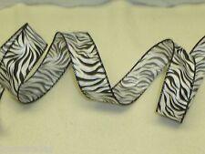 "1.5"" Wide Black White Zebra Animal Print Wired Designer Ribbon-10 Yards 30 Feet"