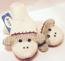 Sock Monkey Mittens by deLux - adult size. Winter Gloves. Holidays. Gift.
