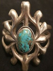HUGE AND HEAVY OLD PAWN SANDCAST SILVER  AND TURQUOISE CUFF BRACELET 92 GRAMS!!!