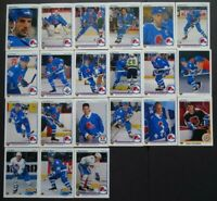 1990-91 Upper Deck UD Quebec Nordiques Team Set of 21 Hockey Cards