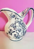 "VTG IN THE STYLE OF BLUE DANUBE BLUE ONION CREAMER PITCHER 5"" TALL"