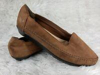 Dr. Scholls Womens Moc Style Slip On Brown Flats Shoes Sz 7.5 GUC