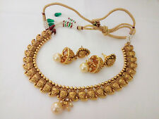South Indian Jewelry Necklace Bollywood Ethnic Gold Plated Traditional Set NH3