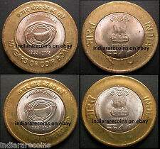 India Bimetallic C Mint Lettering Variety Coir Board Coin Set 10 Rs Unc NEW 2013