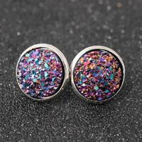 Round Blue Druzy Geode Crystal Stud Earrings Post Back GORGEOUSQ