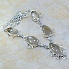 "Handmade Natural Rutilated Quartz 925 Sterling Silver Necklace 17.75"" #A86036"