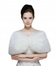 Women Faux Fur Wedding Coat Wrap Shawl Bolero Shrugs for Bridal White