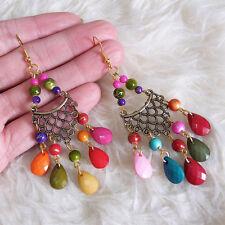 Vintage Bohemian Hippies Antique Color Multi Color Beads Dangle Hook Earrings