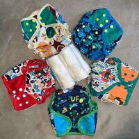 NEW Lot 5 Washable Reusable Adjust Cloth Diaper 4 layers Bamboo insert LOLLIPOPY