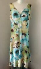 AUTOGRAPH Marks & Spencer Blue Green Floral Cotton Sleeveless Midi Dress Size 16