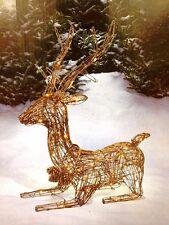 "33"" Lighted Deer Buck Grapevine Rattan Wicker Clear 50 Lights Lit Display Deck"