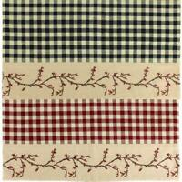 Berry Vine Check Rectangular Placemat - Red or Black - Set of 4